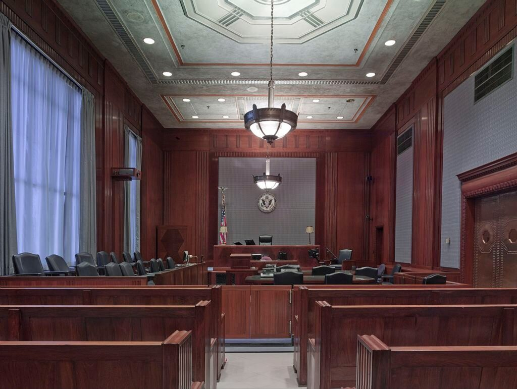 Courtroom representing numerous expert witness engagements