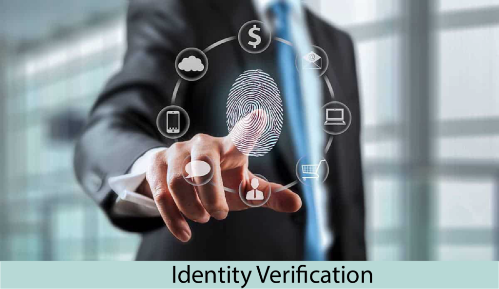 Indentity verification showing transparent screen with human finger leaving a fingerprint with application icons
