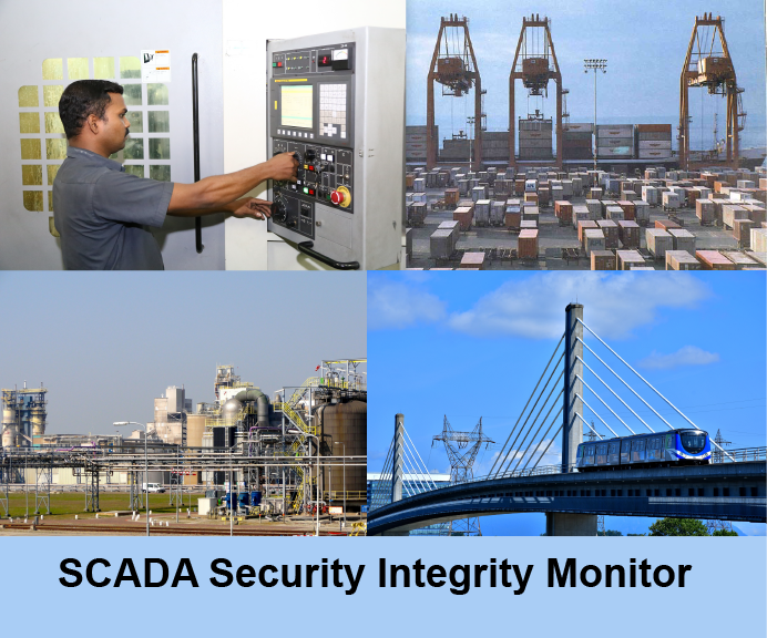 Human at ics station - port with shipping containers - chemical factory - high speed train  All SCADA systems requiring security