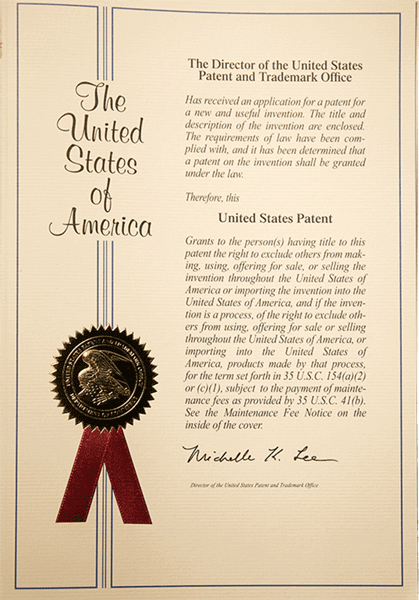 US Patent cover representing our 17 page  provisional filing