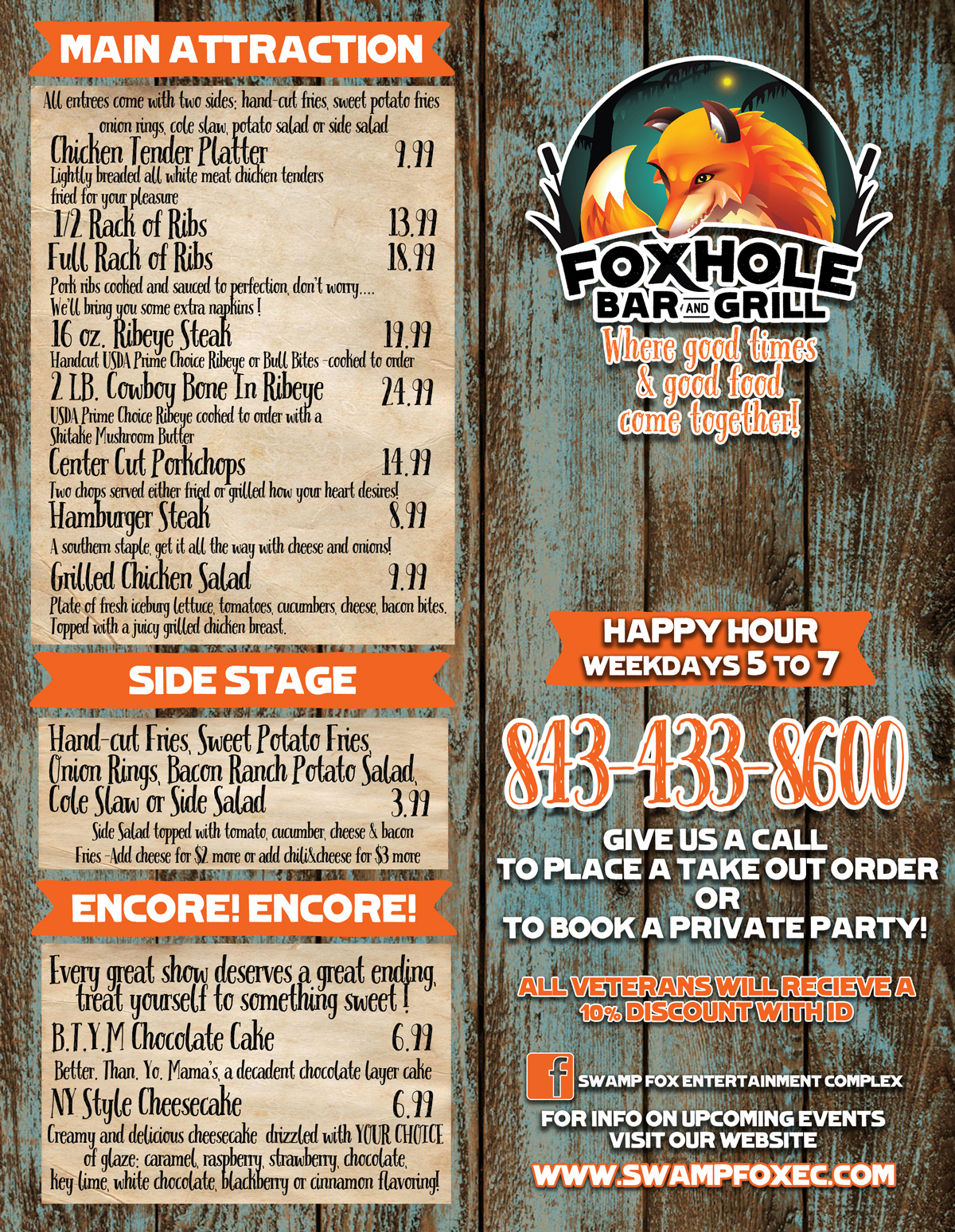 Fox Hole Bar and Grill Menu 1