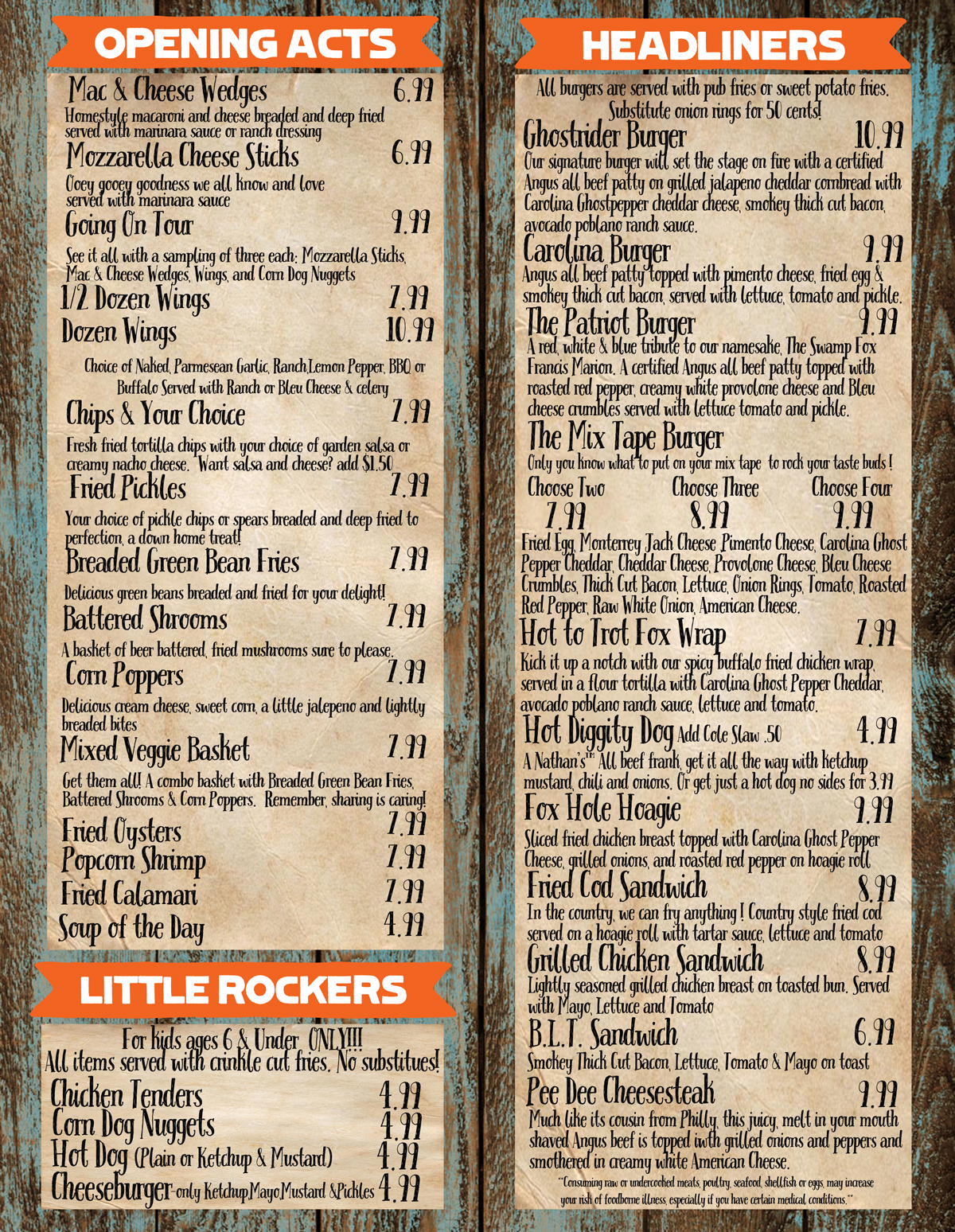 Fox Hole Bar and Grill menu 2