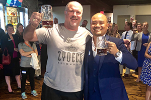 Zydeco Brew Werks owner and Mastermind, Paul Pepin lifts a glass of his best with Rod.