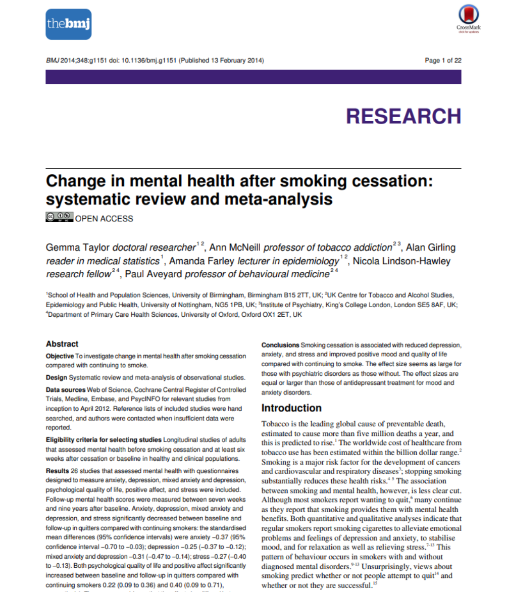 Change in Mental Health after Smoking Cessation: Systematic Review and Meta-Analysis