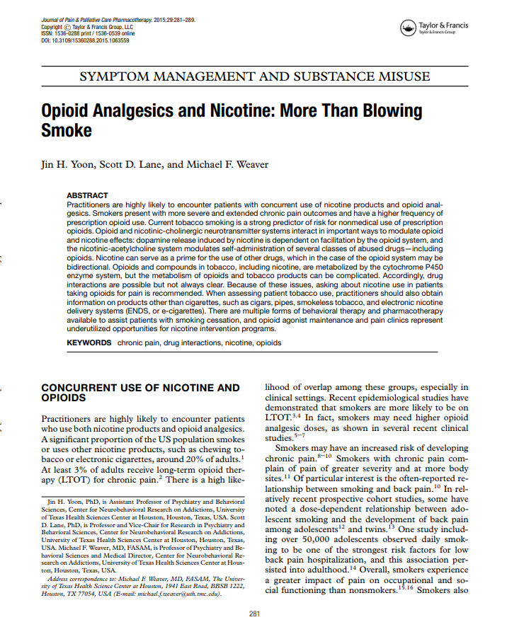 Opioid Analgesics and Nicotine: More Than Blowing Smoke