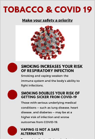 Tobacco & COVID-19 - CTSI & IU Simon Comprehensive Cancer Center Infographic