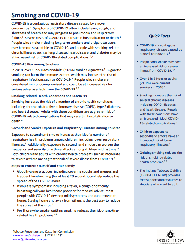 Smoking and COVID-19 - TPC Factsheet