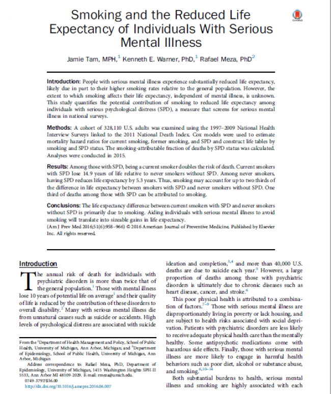 Smoking and the Reduced Life Expectancy of Individuals With Serious Mental Illness