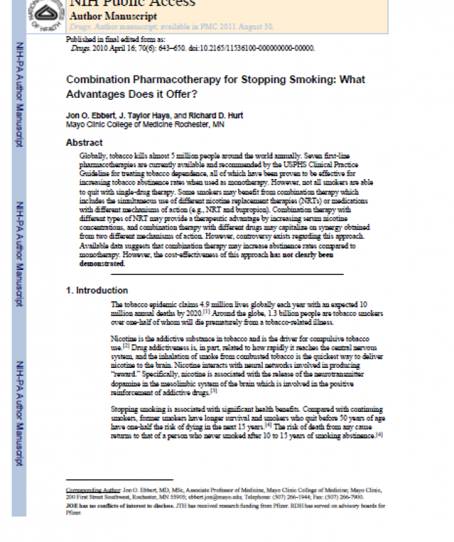 Combination Pharmacotherapy for Stopping Smoking: What Advantages Does it Offer?