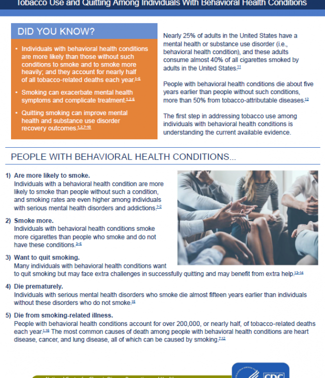 Tobacco Use and Quitting Among Individuals With Behavioral Health Conditions