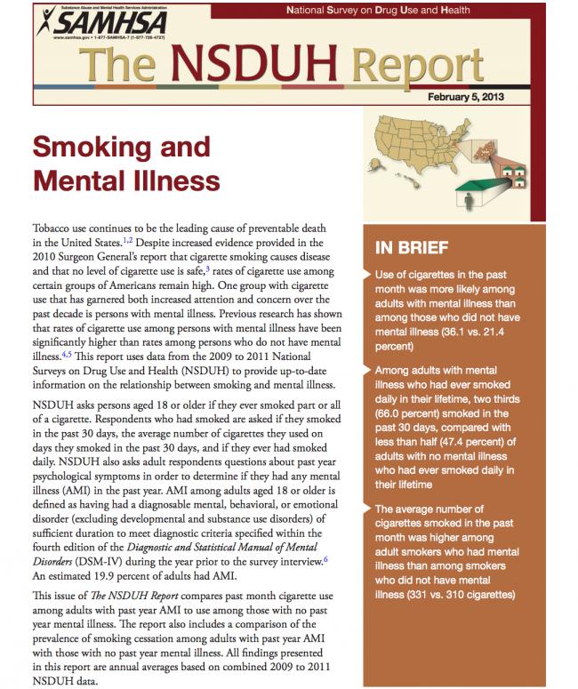 Smoking and Mental Illness