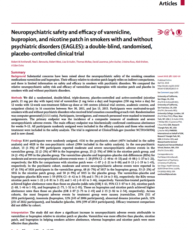 Neuropsychiatric Safety and Efficacy of Varenicline, Bupropion, and Nicotine Patch in Smokers With and Without Psychiatric Disorders