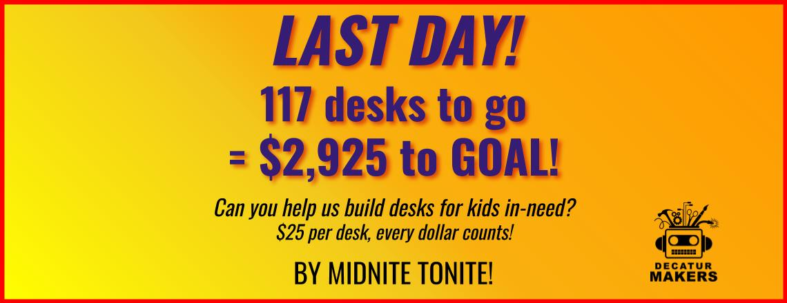 $2,925 to go for 117 desks for kids!