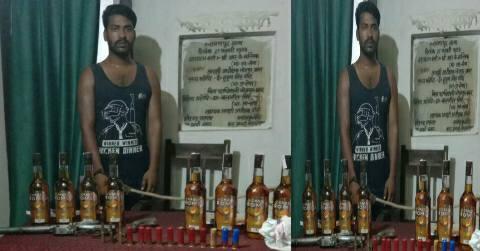 Narayanpur-Bhojpur-liquor-pistol-bullet-cannabis-man