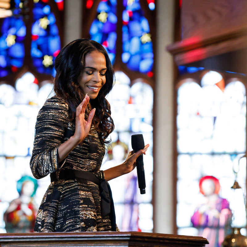 musician performs in a church