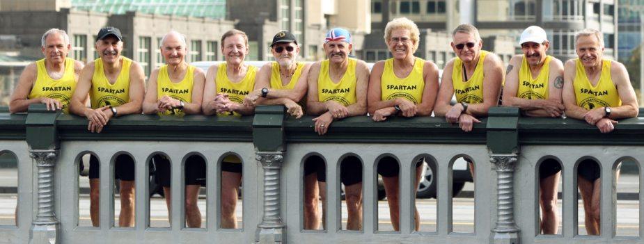 The ten Melbourne Marathon Spartan Legends before the 35th Melbourne