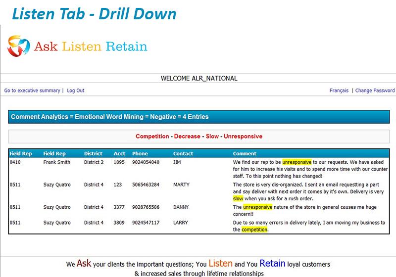 Listen Tab Drill Down