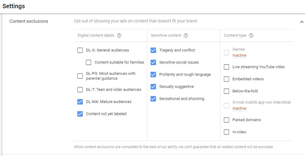 google display campaign settings
