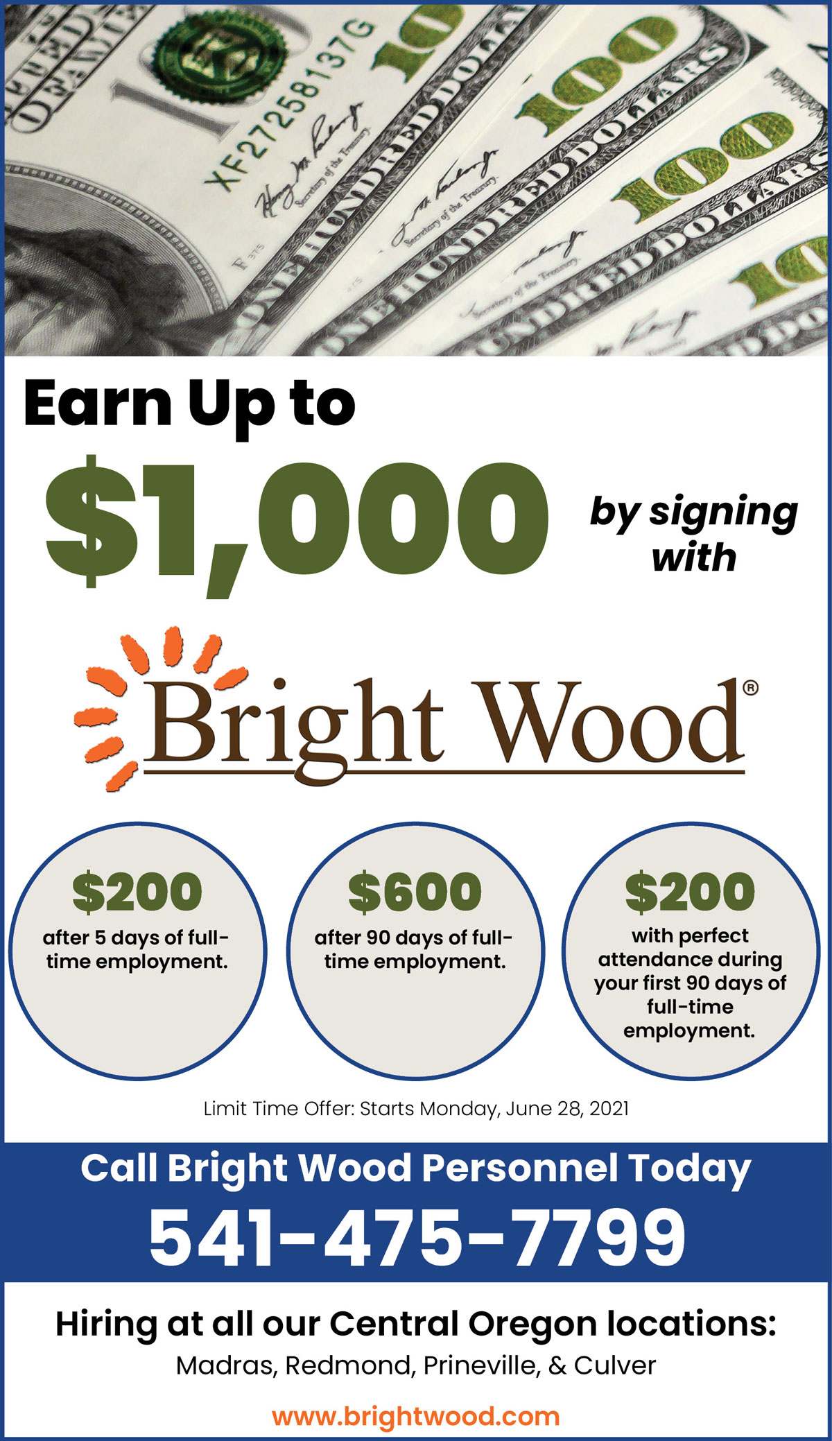 Earn up to $1,000 by signing on with Bright Wood