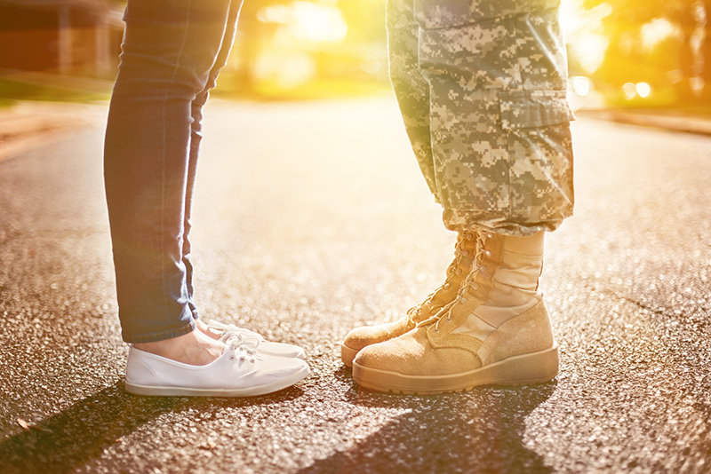 Soldier and Wife Standing Together