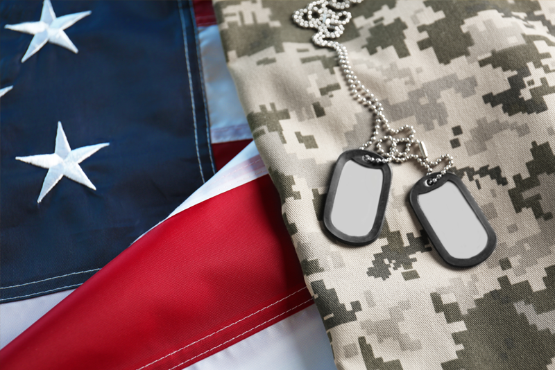 American Flag with Camo and Dog Tags