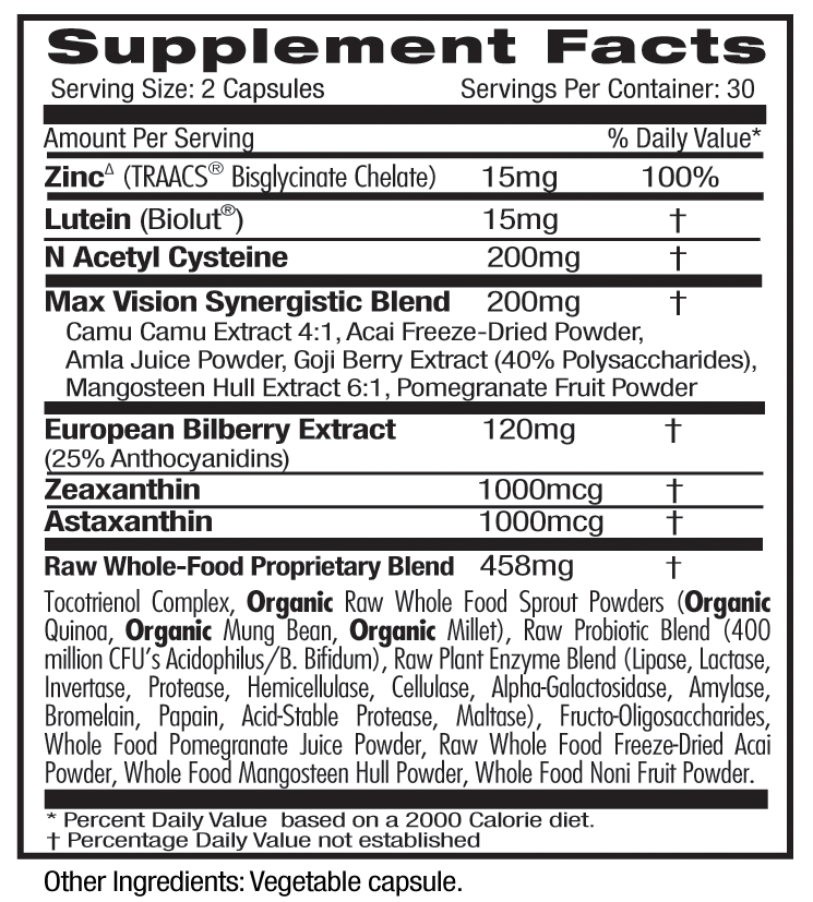 Emerald Vision Health Supp Facts