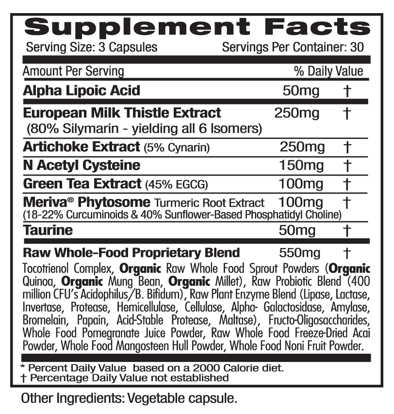 Emerald Labs Liver Health Supp Facts