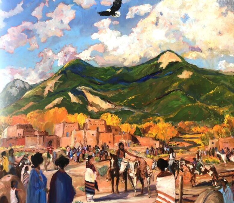 """The Hunter's Return, Indian Summer ""     Taos Gallery Guide Cover  2020-21"