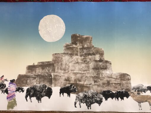 Buffalo and Elk Taos Pueblo Full Moon