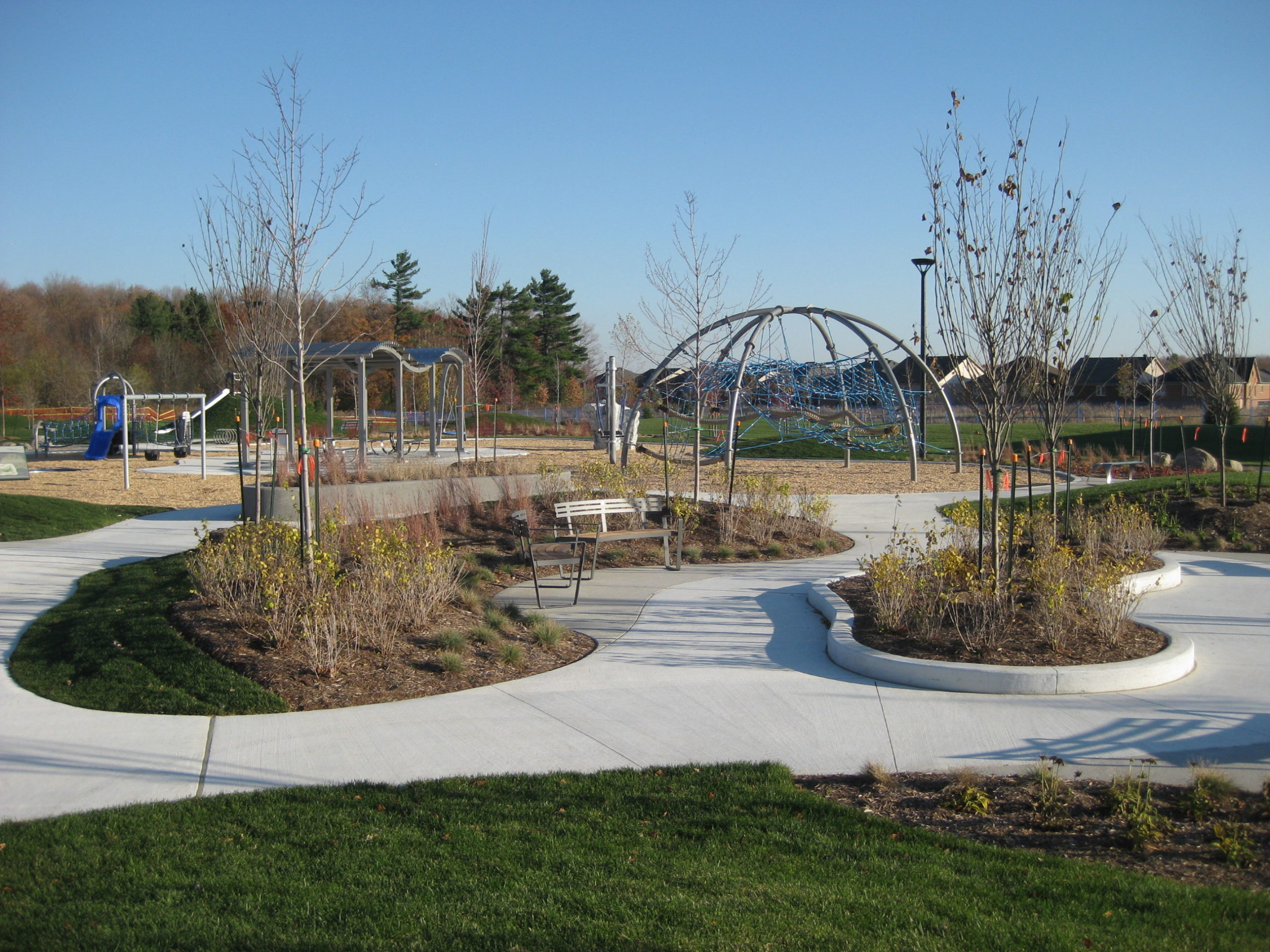 Several meandering paths through park.