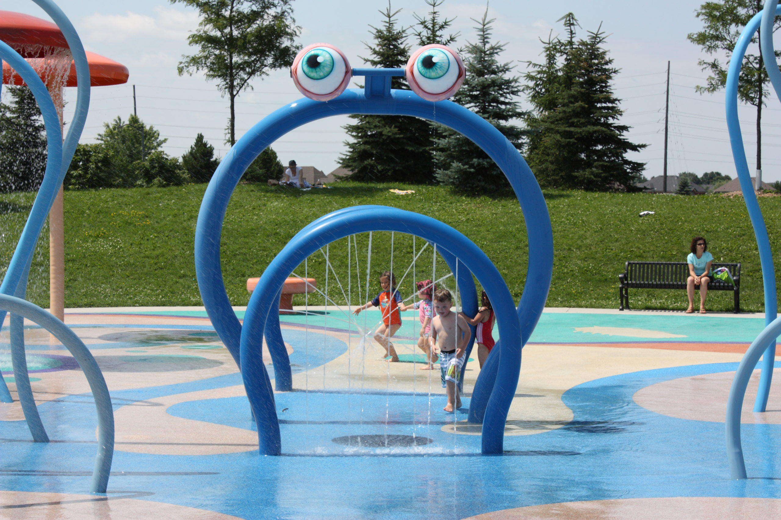 Children playing in the water park.