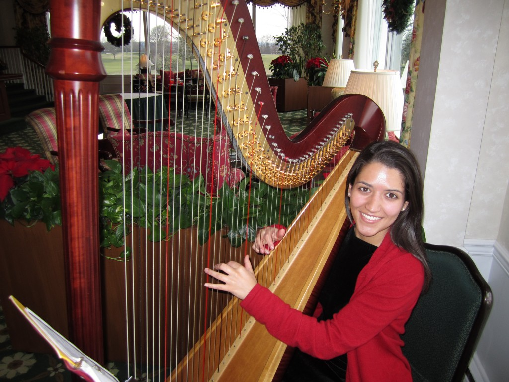 Harpist, Arielle T., at Canoe Brook Country Club, Summit, New Jersey