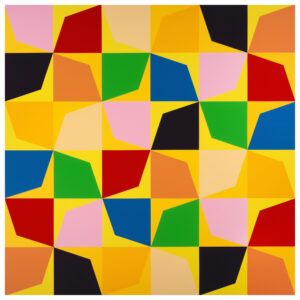 Odili Donald Odita Flower, 2019 acrylic on canvas 60 1/8 x 60 1/8 x 1 1/2 inches © Odili Donald Odita. Courtesy of the artist and Jack Shainman Gallery, New York