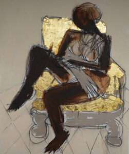 Reclining Nude (2020) 24k gold, acrylic and charcoal on canvas 58.2 in. by 72 in.