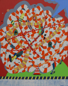 "Image title BO-BObo #1 32""x40"" acrylic & Collage on canvas 2020"