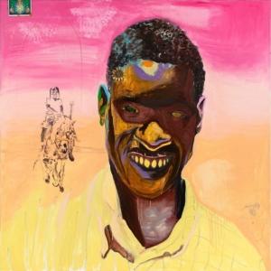 Sunshine Man. 2020. Oil, found object, glitter on canvas. 60x60