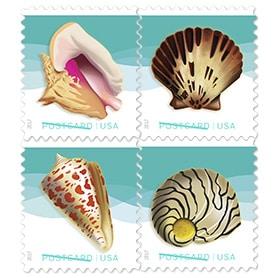 Beach Music and 2017 Seashells Postcard stamps
