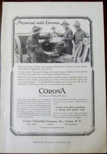 WWI 1916 Corona Typewriter Magazine Advertisement