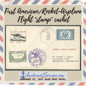 "First American Rocket-Airplane Flight ""stamp"" cachet"
