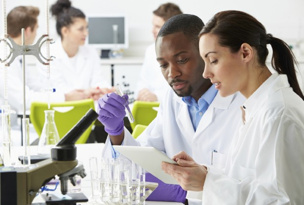 man and women in lab