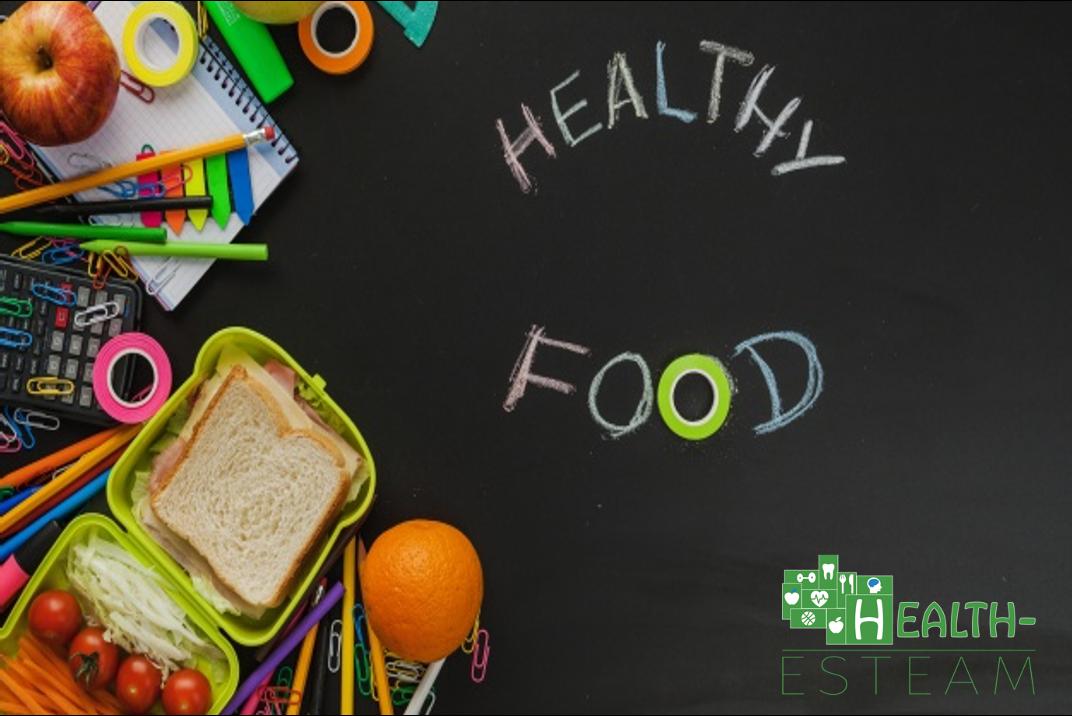 Healthy food on chalkboard
