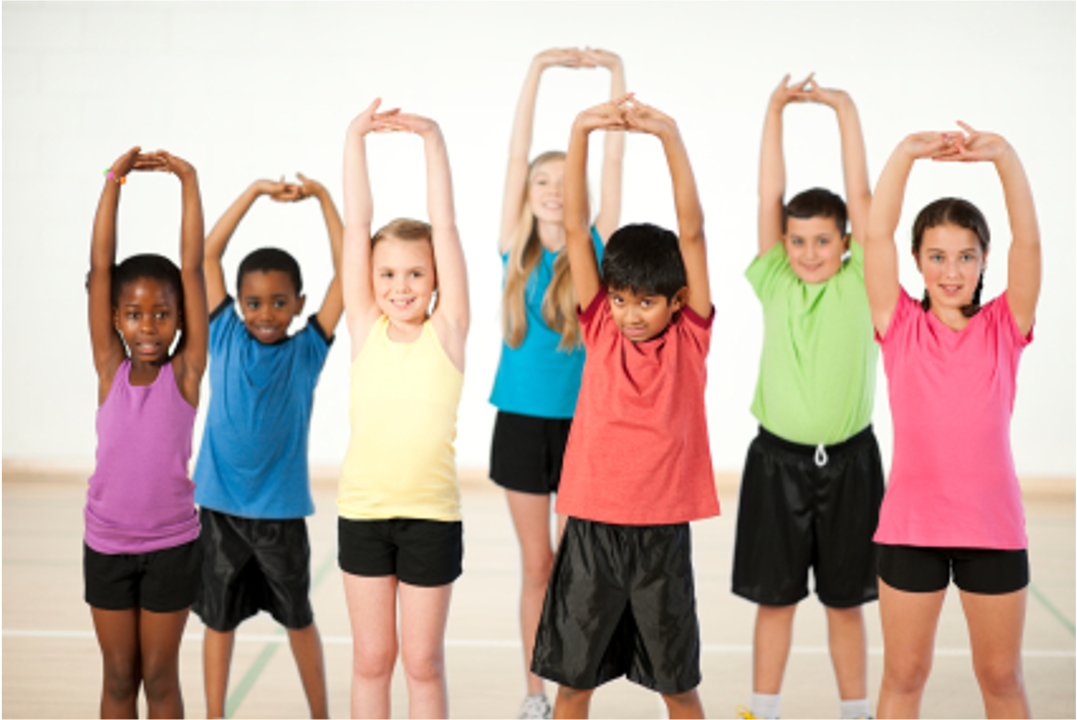 kids stretching group colors