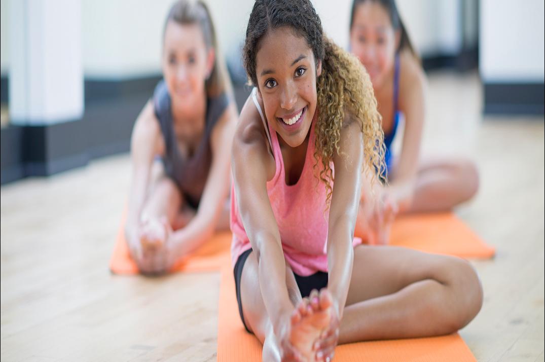 teens yoga orange mat
