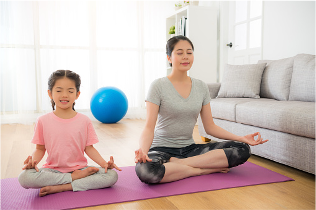 yoga at home with parent