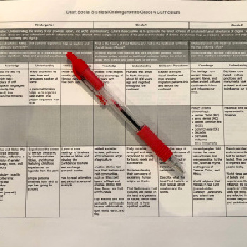 breakdown of curriculum with red pen laying over top