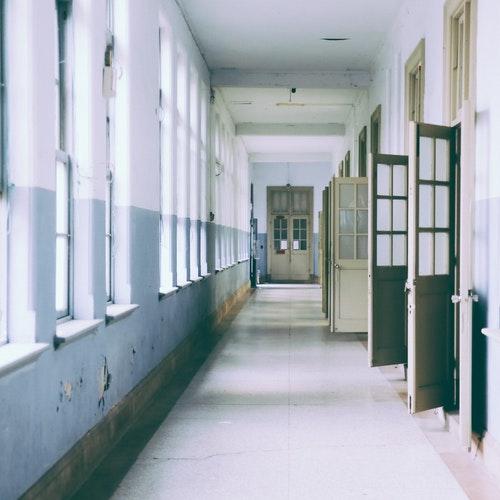 School hallway with doors open