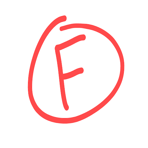 An F grade circled in red ink.