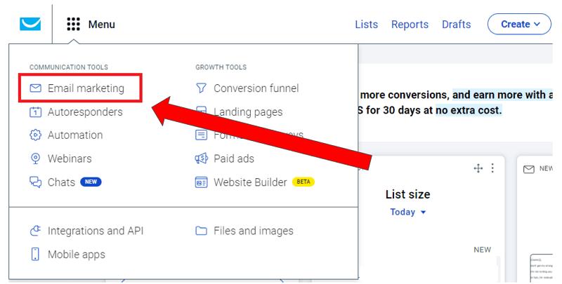 GetResponse Create Newsletter - Main Menu - Email Marketing