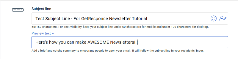 GetResponse Newsletter - Enter Subject Line and Preview Text