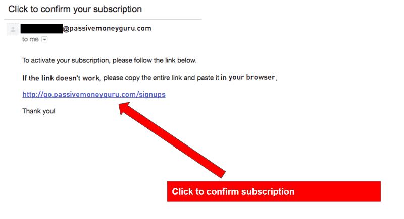 GetResponse - Double Opt In Confirmation Email Link